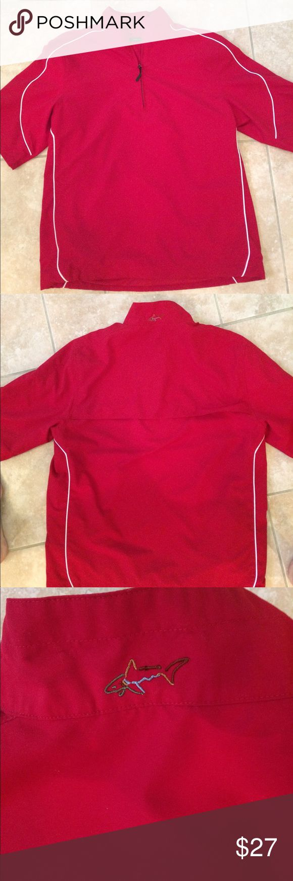 Greg Norman Collection. Greg Norman Collection Men's 1/4 Zip Short Sleeve Weather Knit Jacket. Waterproof fabric. Wind Resistant. Comfort Stretch. Like new. Barn Red. Greg Norman Jackets & Coats Windbreakers