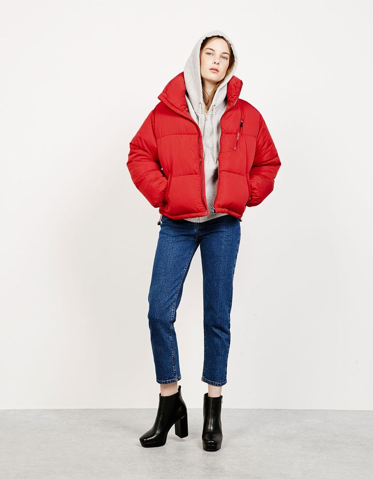 'Puffy' cropped quilted jacket - Coats & Jackets - Bershka Montenegro
