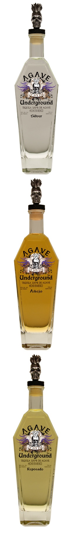 Agave Underground Tequilas  (with flaming skull head stoppers)