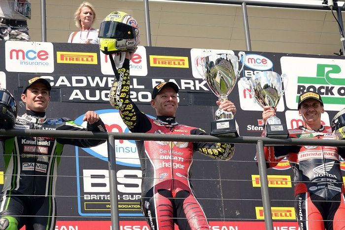 Byrne victorious again at Cadwell Park http://www.cumbriacrack.com/wp-content/uploads/2016/08/Jon-Jessop-Shane-Byrne-on-the-podium.jpg Be Wiser Ducati Racing Team rider Shane 'Shakey' Byrne continued his winning ways at round eight of the MCE British Superbike Championship with another superb victory    http://www.cumbriacrack.com/2016/08/30/byrne-victorious-cadwell-park/