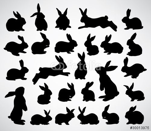 Vector: big collection of rabbit silhouettes