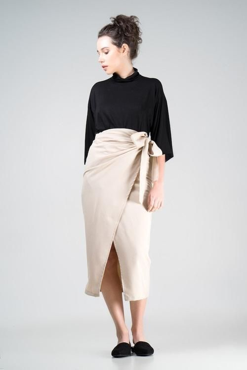 shop ethical sustainable & ethical clothing by Indecisive. Irene Wrap Skirt in Cream