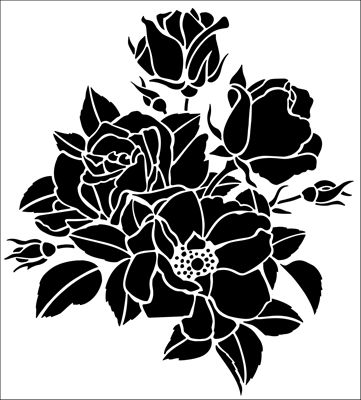 Roses No 1 stencil from The Stencil Library GENERAL range. Buy stencils online. Stencil code 257.