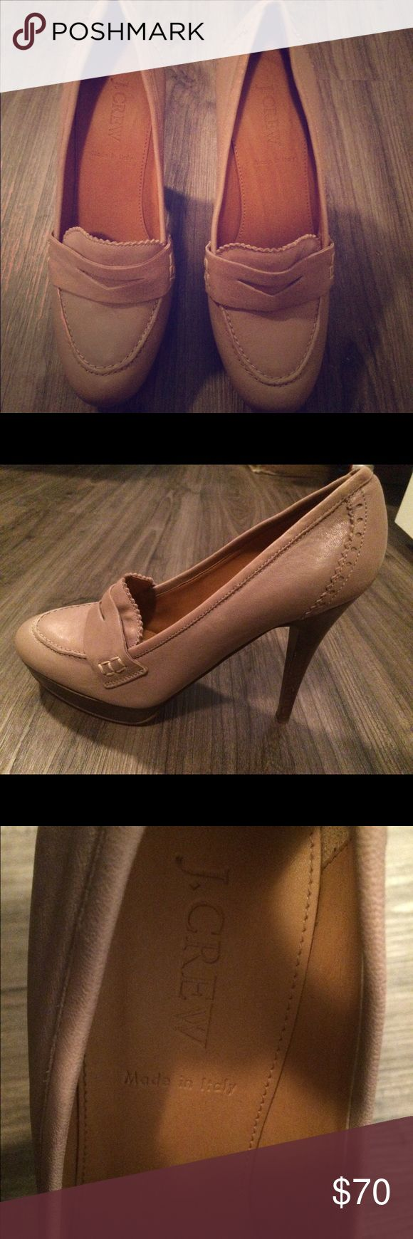 "J Crew Biella Penny Loafer High Heels Size 7 • Warm taupe/tan polished Italian leather  • 4 1/4"" semi-gloss stacked wooden heel with an exterior platform for comfort • 3/4"" Platform  • Almond shaped toe  • Man made lining and sole J. Crew Shoes Heels"