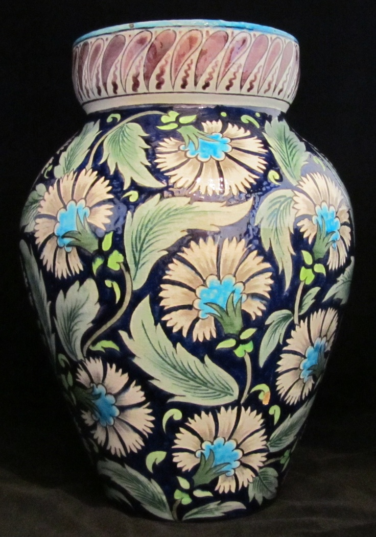"William De Morgan Substantial Vase in Persian Colourway decorated with Carnations. Unmarked. Hole to base filled at the time of manufacture. Ex Harriman Judd 15"" high. 10"" wide Dated: Circa 1880s www.adantiques.com"