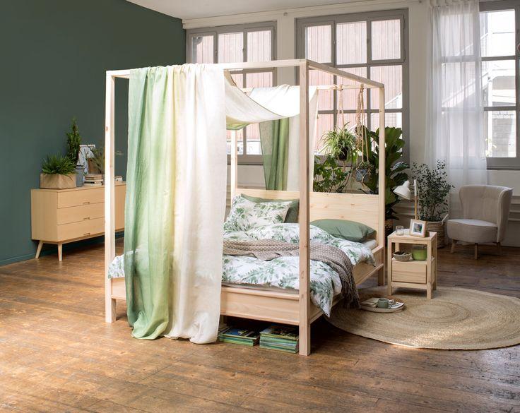 Micasa Schlafzimmer mit Himmelbett CIEL & Fertigvorhang JAVIER