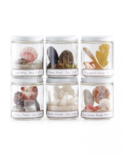 Rather than letting the rocks and shells you so carefully collect on vacation get lost in a drawer among paper clips and thumbtacks, put the found objects in jars. A small vessel requires only a few items to fill it. Once you label the jars with the place and date and line them up on a shelf, you'll have a time capsule display of trips past.
