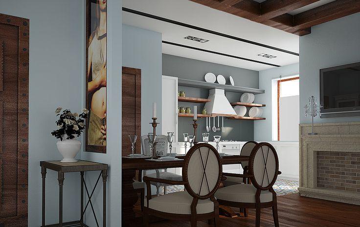 2х комнатная квартира для семейной пары, приезжающей на отдых в Израиль. Интерьер навян Испанией: деревянные балки на потолке, фонари в прихожей, плитка на полу