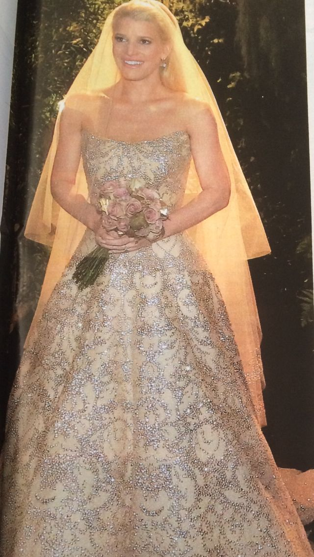 Beautiful Caroline Herrera dress. Jessica Simpson wedding from OK magazine