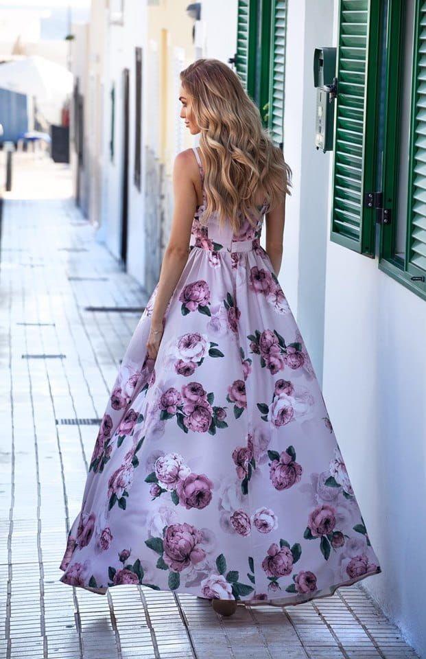 Dluga Suknia Na Ramiaczkach Angelina Rozowa W Kwiaty Floral Print Dress Fashion Dresses