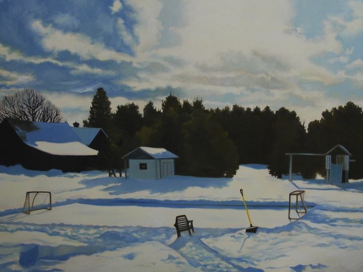 December Rink, oil on canvas