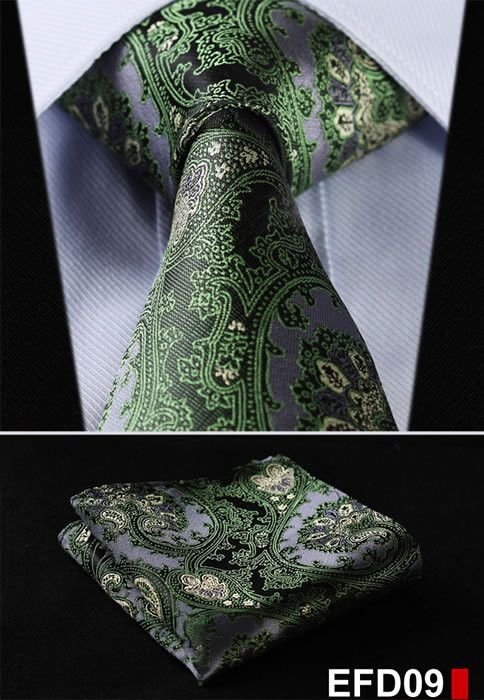 "Dot 3.4"" 100%Silk Wedding Jacquard Woven Men Neckties Pocket Square Handkerchief Set Suit EFD"