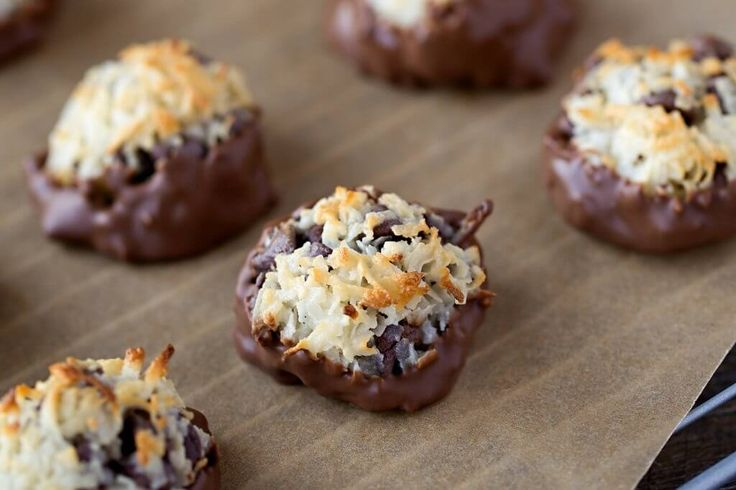 Chocolate Dipped Coconut Chocolate Chip Macaroon Recipe - Make with unsweetened coconut flakes