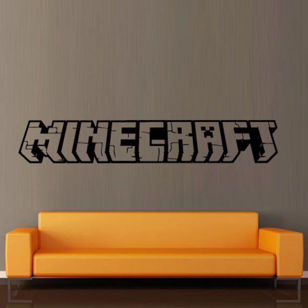 Wall decal vinyl art decor sticker design Minecraft video game sword logo word bedroom mural (m1064)