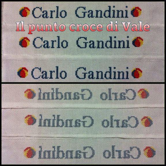 Fasce di tela aida con nome realizzate per Veronica (Monzambano MN). Dettaglio fronte/retro.  Visita la mia pagina Facebook IL PUNTO CROCE DI VALE.