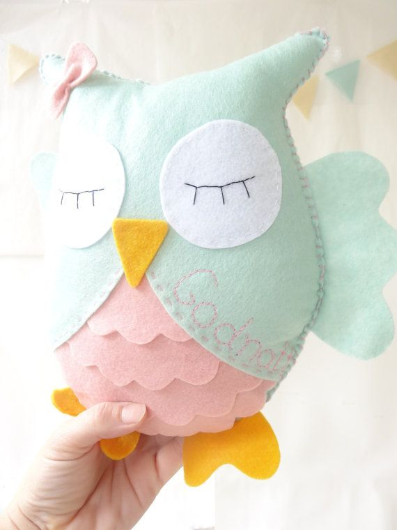 Owl Stuffed Toy with name, Felt owl decor, Nursery room decor, personalised toy, Owl by LaPetiteMelina
