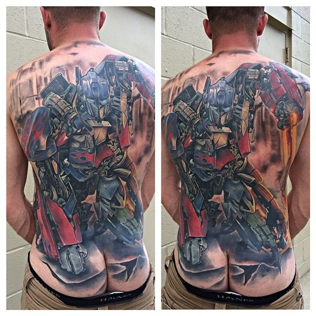 Transformers Tattoos Designs Ideas And Meaning: Optimus Prime Back Tattoo #transformers #tattoo
