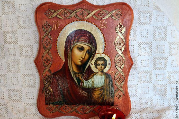 Купить Казанская икона Божией Матери - икона, Декупаж, икона в подарок, Икона ручной работы