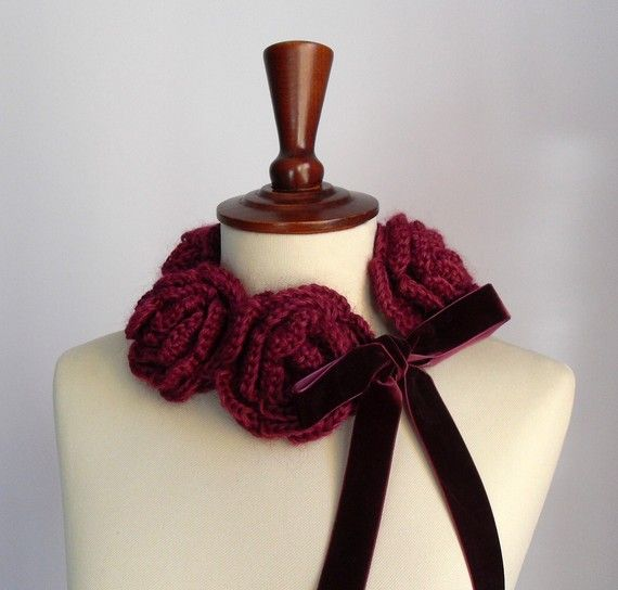 FIVE ROSES  Crochet Cowl/Neckwarmer by Silvia66 on Etsy, $74.00