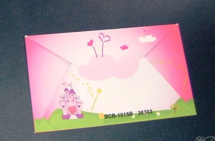 Προσκλητήριο βάπτισης ροζ με κάστρο για κορίτσια.Ο φάκελος είναι εκτυπωμένος με το ίδιο σχέδιο. 0,74 €
