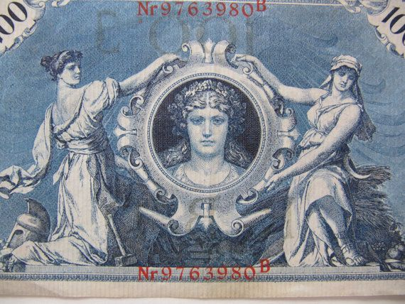 3 German Reichsbanknotes 1908 1910, paper money from
