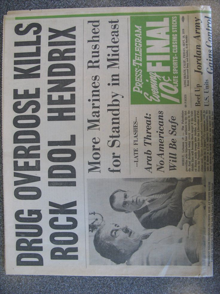 Jimi Hendrix Death Newspaper