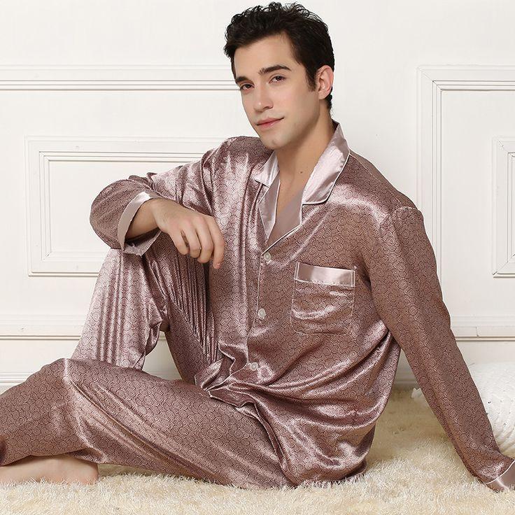 Silk pajamas Sets Thin the Long Sleeved Suit vestidos Turndown Plus Size  Sleepwear Pyjama men Pants · Pyjama De SoieSalonsVêtements ...