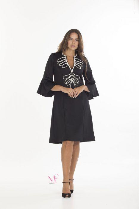 19-20627 Μαύρο Εκρού Φόρεμα midi scuba crep με κόψιμο Μάο 18339bcdb30