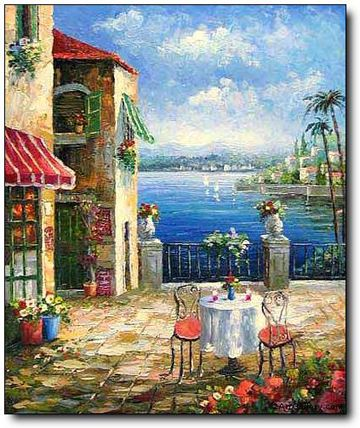 Mediterranean Cafe Bellagio Original Landscape Oil Painting Art
