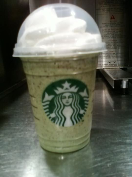 Starbucks version of the shamrock shake, way better than mcdonalds! green tea frappuccino, vanilla bean powder, java chips and peppermint syrup