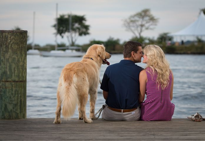 Including your pets in your engagement photos can also double as great family photos. Amy and Scott had the right idea for their engagement session in Annapolis, Maryland!
