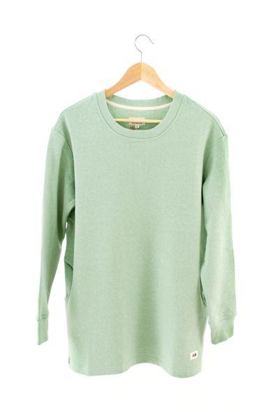 RCM CLOTHING / WOMENS SWEATSHIRT   MINT GREEN  Sustainable Hemp Apparel, 55% hemp 45% organic cotton fleece http://www.rcm-clothing.com/