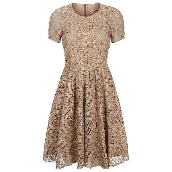 Burberry London Velma English Lace A-Line Dress ($1,510) ❤ liked on Polyvore featuring dresses, short dress, mini dress, pleated a line dress, pleated mini dress, short a line dresses and brown cocktail dress