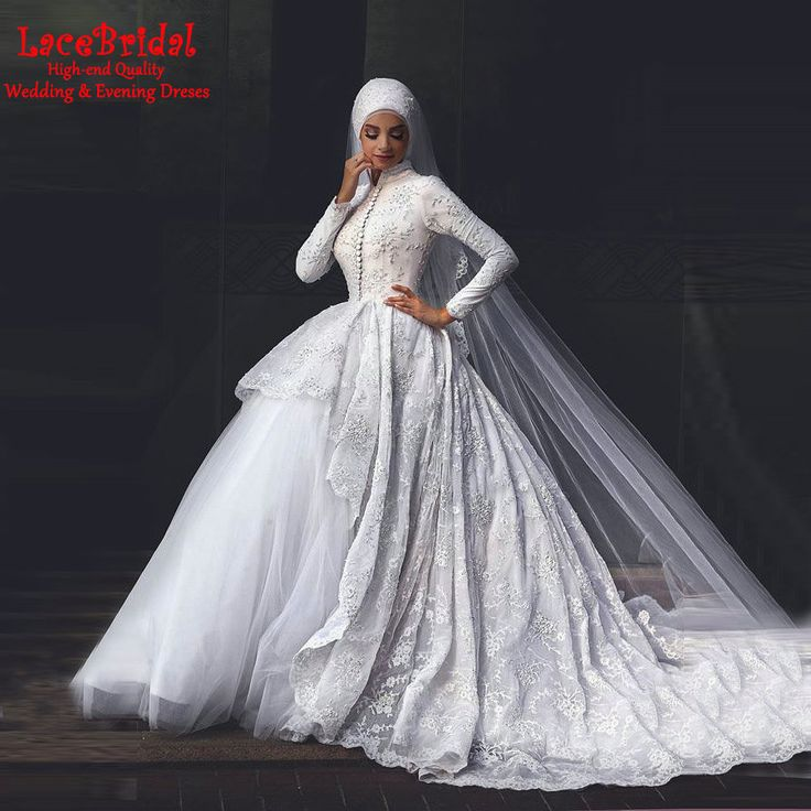 Lovely dress present on sale at reasonable prices buy Ysmo Muslim Wedding Dresses Long Sleeve Lace High Neck Ball Gown Arabic Vestidos De Novia Gorgeous