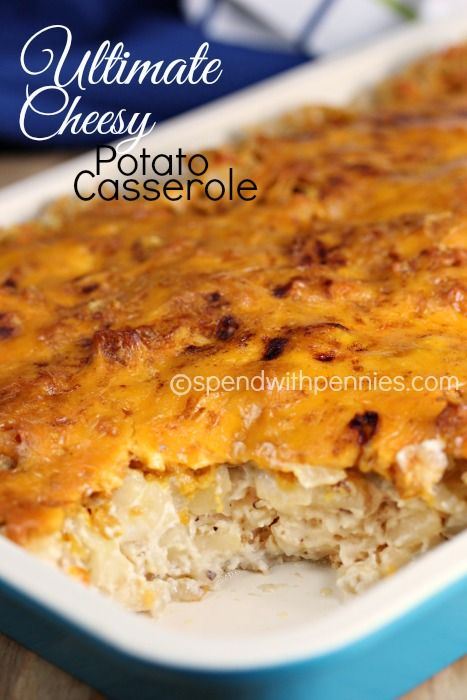 Ultimate Cheesy Potato Casserole!  Just 5 minutes of prep!! Love it?  Pin it to your SIDE DISH board to SAVE it! Follow Spend With Pennies on Pinterest for more great recipes! These are amazing…  and the best part is that they take just 5  minutes to prepare! These creamy cheesy potatoes start with hash browns and a few simple ingredients making them quick and easy!  If you bring these along anywhere, be sure to bring along a  copy of the recipe because  {Read More}