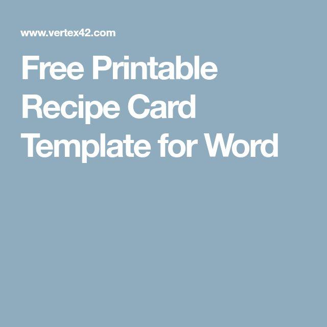 Ponad 25 najlepszych pomysłów na Pintereście na temat Recipe - free recipe card templates for word