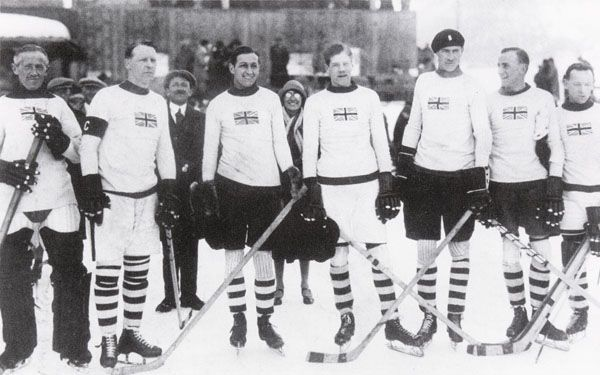 Team GBs ice hockey team at the 1936 winter Olympic Games in Garmisch-Partenkirchen