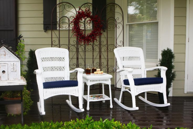 Tortuga Outdoor PSR2-P-WH Rocking Chair 3Pc Set. The Portside Collection - An attractive, affordable and comfortable wicker furniture seating set with many complementary wicker furniture pieces. All furniture pieces feature powder coated steel frames hand woven with all-weather resin wicker. The Cushion dimensions are universal.