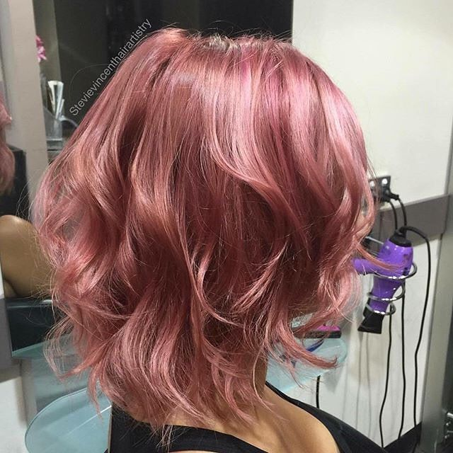 Pink Rose Gold Hair By Stevie Vincent Artistry