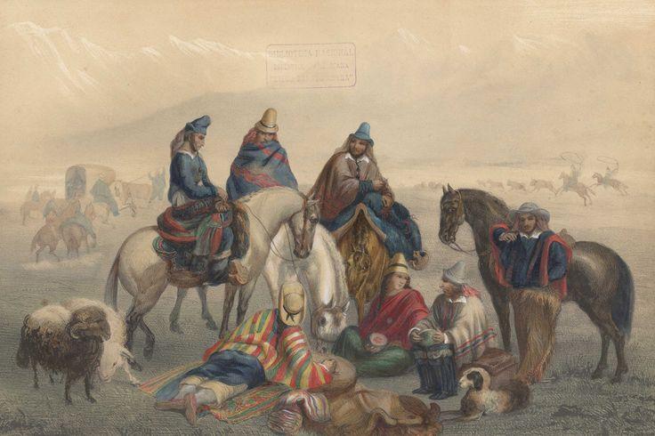 Chilean Horse ,Huasos painting atlas de Claudio Gay