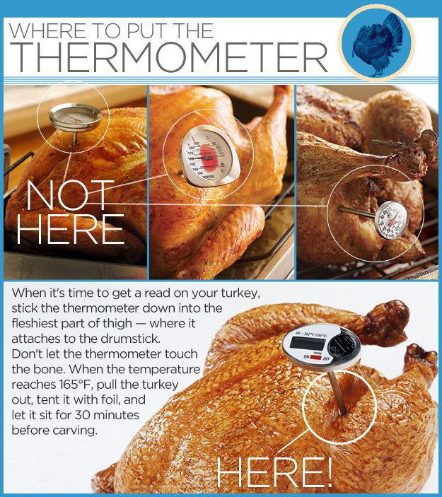 Know where to put the thermometer to tell if your turkey is REALLY done.
