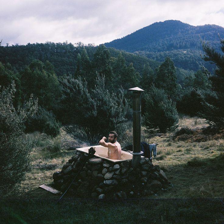 Bathtub outside Tasmanian cabin. Contributed by Tom Powell.