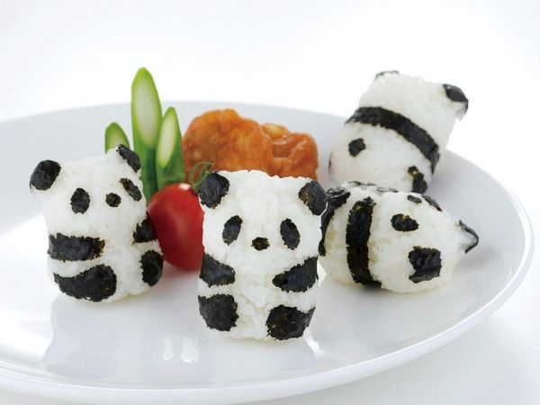 Baby Panda Onigiri Set - onigiri: (rice ball) a Japanese comfort food made from rice formed into triangular/oval shapes and usually wrapped in nori (seaweed).