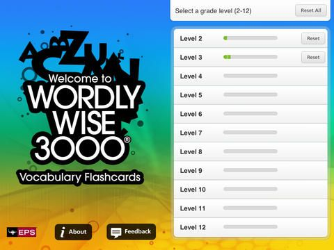 Wordly Wise 3000® Vocabulary Flashcards FREE By Educators Publishing Service -  Every word from the popular Wordly Wise 3000® series is now available on the iPad®. Use these flashcard activities to build your vocabulary, improve your English, or prepare for SAT tests.