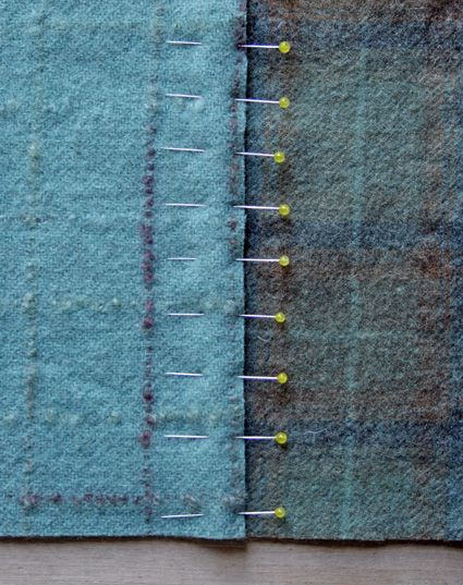 Great technique for seaming wool fabric or recycled sweaters for blankets.      ~t~