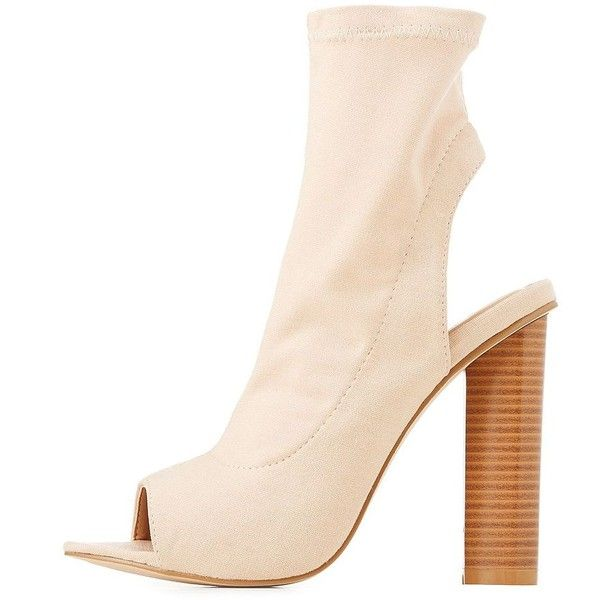 Charlotte Russe Peep Toe Slingback Booties (955 HNL) ❤ liked on Polyvore featuring shoes, boots, ankle booties, nude, chunky ankle booties, peep toe ankle booties, synthetic boots, sock bootie and peep toe slingback booties