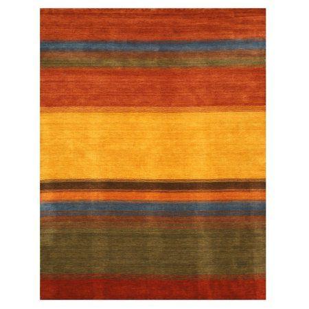 Eorc LK3MU Handmade Wool Gabbeh Rug, 8' x 10', Multi, Multicolor