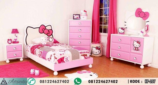 Tempat Tidur Hello Kitty jual set kamar tidur anak perempuan warna pink putih bahan kayu terbaik dengan desain terbaru 2017 harga murah call 081224627402