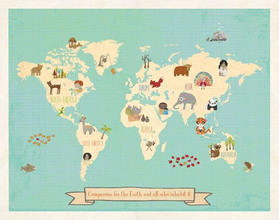 Nursery-art world-map: all proceeds go to help malnourished children get vitamins w/ Future Fortified. http://www.futurefortified.org/