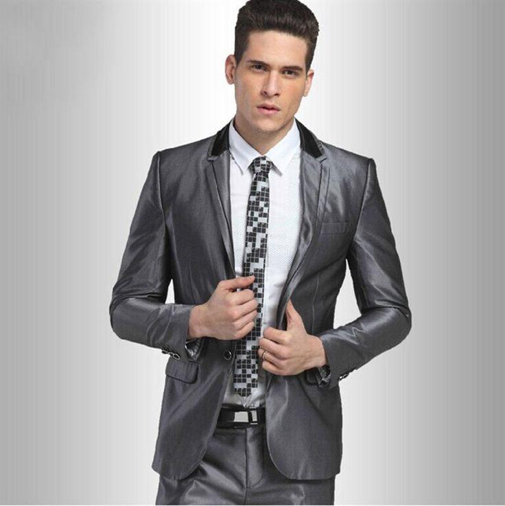 Fashion Shiny Grey Slim Fit Coat Pant Mens Suit Photo, Detailed about Fashion…